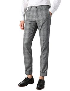 H2H Mens Check Patterned Casual Slim Straight Fit Long Dress Pants GRAY US 34W/Asia XL (KMBLP0174) Mens Dress Pants, Men Dress, Gray Pants, Asia, Suits, Grey, Fitness, Pattern, Check