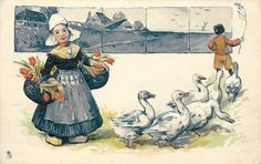 Dutch girl♥ with baskets of flowers, six geese, boy in background