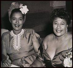 Billie Holiday and Ella Fitzgerald in 1947 at Bop City Nightclub, New York,