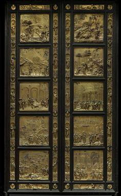 """Primer panel de la """"Puerta del paraíso"""" (creación del mundo y expulsión del Paraíso) de Ghilberti"""