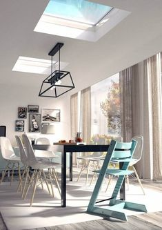 Our helpful buying guide on rooflights for flat roofs relieves you of all the stress of having to answer those tricky questions like what type of flat roof window do I need and what type of glazing do I require? Dining Room, Dining Table, Roof Window, Storey Homes, House Extensions, Flat Roof, Skylight, Blinds, New Homes