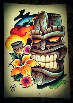 What does tiki tattoo mean? We have tiki tattoo ideas, designs, symbolism and we explain the meaning behind the tattoo. Tiki Tattoo, Hawaiianisches Tattoo, Mask Tattoo, Maori Tattoos, Tribal Tattoos, Crow Tattoo Design, Tattoo Designs, Tattoo Ideas, Tiki Maske