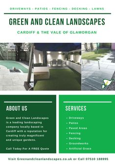Landscaping Company, Garden Landscaping, Patio Fence, Local Contractors, Green Lawn, Garden Landscape Design, Unique Gardens, Cardiff, Service Design