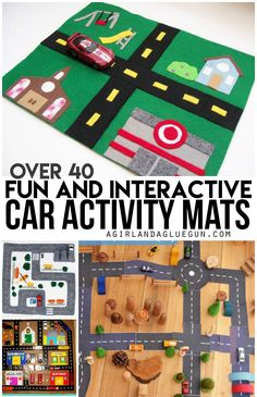 Forever and a day ago I whipped up thisFelt car matout of hot glue and felt! Since then…I have noticed SO many amazing car activity mats and I just had to put them all in a roundup to share! ENJOY!  cardboard road these are all Serving Pink Lemonade: This is one giant mat…but …