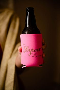 "Personalized Wedding Koozies from RookDesignCo on Etsy. ""The Byrnes. Let's Party."" Carnegie Institute of Science, Washington, D. Pink Black, Black Gold, Wedding Koozies, Cigar Bar, Our Wedding Day, Personalized Wedding, Holiday Parties, Party Favors, Washington"