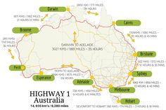 How long does it take to drive around Australia? It's a long drive around Australia! Read more to find out how long it takes to drive around Australia, things to do, best places to see and complete self-drive itineraries. Australia East Coast, Australia Map, Western Australia, Countries In Australia, Australia Honeymoon, Cairns Australia, Visit Australia, Perth, Brisbane