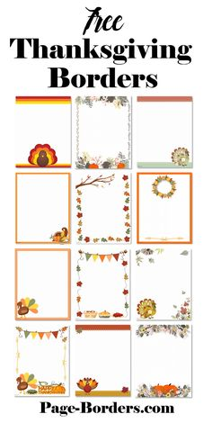 FREE Thanksgiving Border Printables | Many designs available