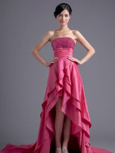 Strapless Taffeta Hi Lo Prom Dress with Sequined Bodice and Split Tiered Skirt #ShopSimple