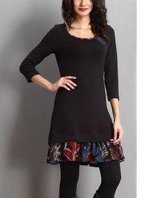 Another great find on #zulily! Black Floral Ruffle-Hem Dress #zulilyfinds