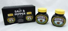 Marmite Jar Shape Stoneware Salt & Pepper Shaker Set Gift Boxed New | eBay