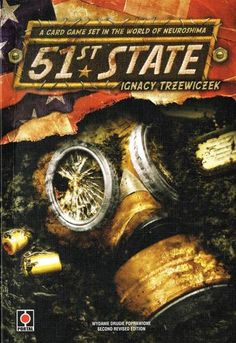 51st State, 6.9 BGG rating. Best with 2/3 Players. Age 12+. 51st State is a card game in which players control one of the four powers (mutants, traders, New Yorkers and Appalachians) and try to build their very own new country. Players put new locations into the game, they hire leaders, and send people to work in buildings to gain resources and new skills.