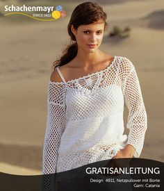 Netzpullover mit Borte aus Schachenmayr Merino Extrafine Cotton 120. #MerinoExtrafineCotton120
