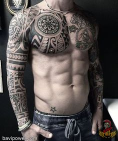 Body Tattoos Ideas - Nude & Naked Guys and Girls Tattoos // September, 2019 A Polynesian full body tattoo.A Polynesian full body tattoo. Viking Tattoo Sleeve, Tribal Sleeve Tattoos, Best Sleeve Tattoos, Forearm Tattoos, Body Art Tattoos, Girl Tattoos, Maori Tattoos, Tattoo Man, No Fear Tattoo