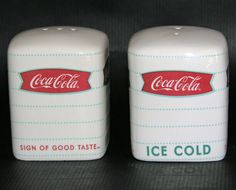 Coke Coca Cola Stoneware Salt and Pepper Shakers Gibson 2008