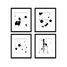 Paint Splatter Set 2, Black And White Art, Digital Black And White Art Prints, Abstract Art, Contemporary Art, Printable Art, Home Decor