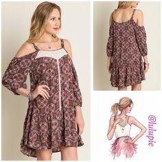 "✳️SALE✳️Crochet detail patterned Dress Circle patterned cold shoulder dress. 3/4 sleeves embellished cream crochet details. Made of cotton blend  Measurements  Small Bust 36"" length 33""  Medium  Bust 40"" length 34""  Large  Bust 44"" length 35"" B Chic Dresses"