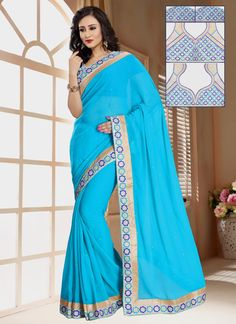 Cute Georgette Turquoise Patch Border Work Casual Saree