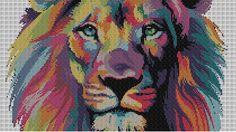 Grille point de croix animaux Lion aux mille couleurs