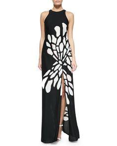 T9PCV Halston Heritage Glow Wings Printed Maxi Dress