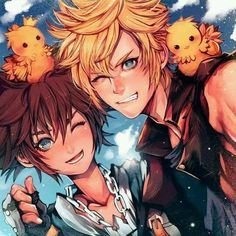 Sora and Prompto ~ aww this is cute! ^^