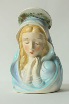 Vintage Lefton Lady Head Virgin Mary Holy Mother Planter Vase 7914 Made in Japan