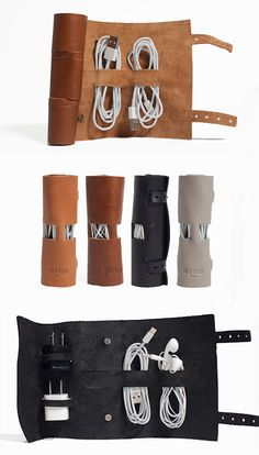 What a cool way to corral your cords and iPhone / iPod headphones, charger and other accessories! #gift