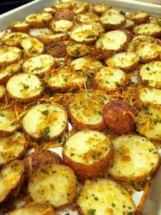 """Roasted Garlic & Parmesan Potatoes Ingredients 1 ½ # small red potatoes, slice about ½ """" 4 tbsp Roasted Infused Garlic Oil 1 C. Parmesan cheese ½ C. plain bread crumbs ¼ C. parsley, chopped 2 tsp Dried Tomato Garlic Pesto  Directions Place Garlic Oil, cheese, bread crumbs, parsley and DGTP in a bowl and mix. Toss potatoes and make sure coated well. Place on greased pan, bake 375 for 30 min or until done."""