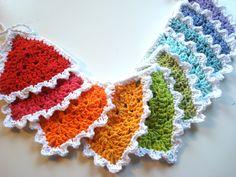 Multi color crochet bunting banner crochet banner by ltlblonde, $30.00