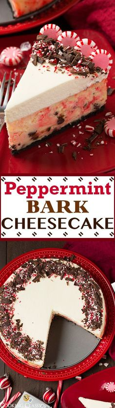 31 Delicious Things To Cook In December/Holiday recipes Christmas Peppermint Bark Cheesecake - this is a Christmas MUST! It is perfectly pepperminty and lusciously rich and creamy! The perfect blend of peppermint bark flavors with cheesecake. Köstliche Desserts, Holiday Baking, Christmas Desserts, Christmas Treats, Dessert Recipes, Baking Recipes, Christmas Bark, Christmas Cheesecake, Thanksgiving Treats