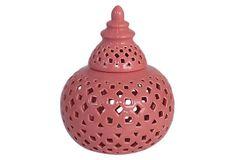 "9"" Covered Pierced Jar, Coral on OneKingsLane.com"