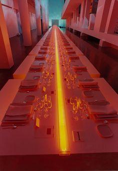 Jil Sander Sun Men Fragrance Launch MACBA Barcelona Spring 2002 The laid table with the orange neon light Produced and directed by Bureau Betak Event Lighting, Neon Lighting, Strip Lighting, Lighting Design, Soho Farmhouse, Bureau Betak, Estilo Interior, New Media Art, Table Design
