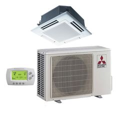 The Mitsubishi - BTU Cooling + Heating - P-Series Ceiling Cassette Air Conditioning System - SEER has been discontinued. Check out Expert's recommended alternatives for another top mini split system. Ductless Heat Pump, Ductless Heating And Cooling, Heat Pump System, Portable Solar Power, Vw Crafter, Ac Units, Pumps, Air Conditioning System, Decks And Porches