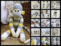 Créer un doudou singe à partir d'une paire de chaussette :-) We've put together lots of Sock Animals that you are going to love to make. Check out all the free patterns and tutorials now. Sock Crafts, Sewing Crafts, Sewing Projects, Sock Monkey Crafts, Crafts To Make, Fun Crafts, Sock Monkey Pattern, Sock Toys, Diy Couture