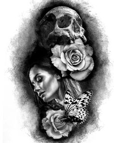 skull lady tattoo sketch with roses and butterfly