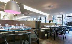Working with Rosita Missoni and her team Graven designed the interiors of Hotel Missoni Edinburgh. Interior design Cucina restaurant, bar, rooms and signage Pizza House, Missoni, Edinburgh, Hotels, Restaurant, Interior Design, Table, Room, Furniture