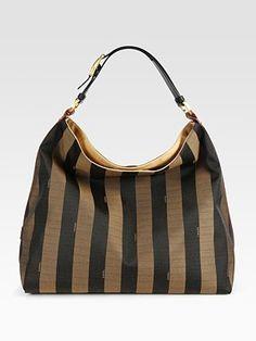 Fendi - Pequin Striped Jacquard Hobo - Saks.com