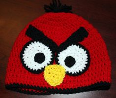 Red Angry Bird Crochet hat.