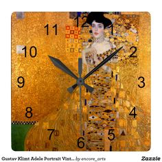 Gustav Klimt Adele Portrait Vintage Square Wall Clock - A popular Gustav Klimt Art Print Wall Clock sold at Encore_Arts on Zazzle.