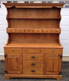 Vintage Ethan Allen American Traditional Maple Two Piece Hutch And  Buffet...belonged To