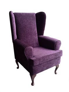 FIRESIDE WING BACK QUEEN ANNE CHAIR IN LUXURY AUBERGINE VELVET EFFECT FABRIC in Home, Furniture & DIY, Furniture, Sofas, Armchairs & Suites | eBay