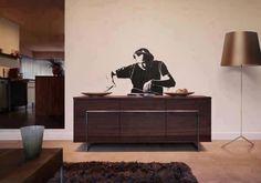 Wall stencilling, dj-ing