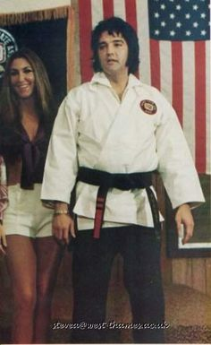 Elvis Presley in his karate outfit is with his girl friend Linda Thompson