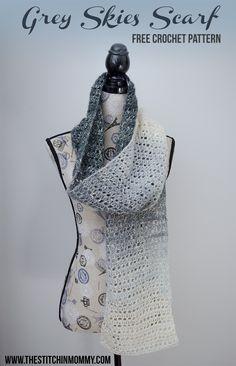 Grey Skies Scarf - Free Crochet Pattern - Schal des Monats Club von The Stitchin 'Mommy und Oomb Crochet Scarves, Crochet Shawl, Crochet Stitches, Free Crochet, Knit Crochet, Crochet Wraps, Easy Crochet Patterns, Crochet Designs, Scarf Patterns