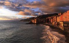 夕日, ビーチ, 海, 海岸, タマルゲリータリグレ, イタリア, Liguria, 旅行, 聖堂