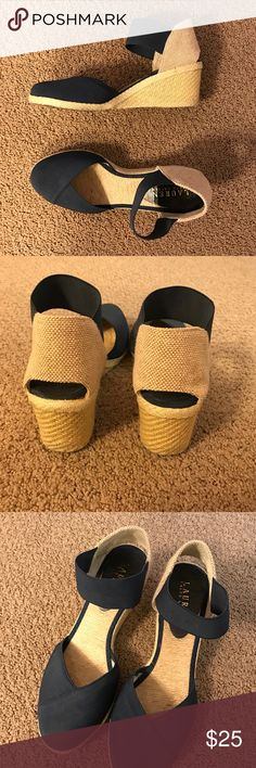 Ralph Lauren Wedges The cutest heels! The straps are elastic-y and comfortable. Only worn a couple times, great condition! Navy and tan. Lauren Ralph Lauren Shoes Heels