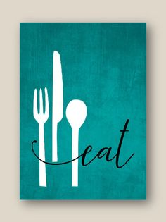 decor diy canvas Kitchen Wall Art Print Set, Eat Drink Love, Utensils Wine // Teal, Grey, Black // Modern Decor // Set of Prints or Canvas Kitchen Canvas Art, Kitchen Wall Art, Kitchen Walls, Kitchen Wall Quotes, Diy Kitchen, Kitchen Decor, Diy Canvas Art, Canvas Wall Art, Wall Art Prints