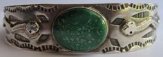 VINTAGE NAVAJO INDIAN APPLIED SNAKES STERLING GREEN TURQUOISE CUFF BRACELET