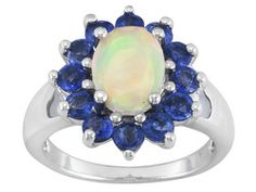 .77ct Oval Ethiopian Opal With 1.40ctw Round Blue Nepal Kyanite Sterling Silver Ring