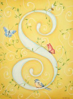 S Monogram Canvas Print / Canvas Art by Sandra Lett
