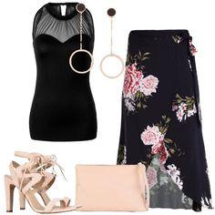 Una gonna lunga a fiori di viscosa, modello a portafoglio e lunghezza al ginocchio, è abbinata ad un top nero senza maniche in viscosa elasticizzata. Scarpe e borsa sono di pelle color nude, i sandali hanno il tacco molto alto e laccetti alla caviglia, la borsa è a mano, in pelle martellata. Per finire, gli orecchini sono a cerchio pendenti, placcati in oro rosa.